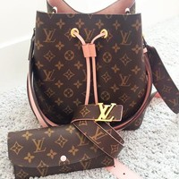 LV Louis vuitton sells fashionable women's printed bucket bag + purse + belt