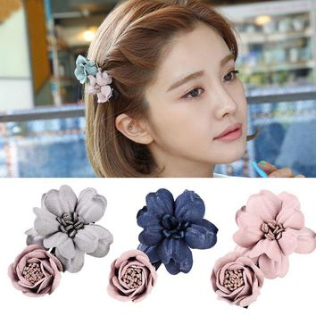 M MISM 2017 Flower Embossed Simulation 3D Hairpins Beauty Hair Accessories For Women Elegant Hairgrips Korean Headwear Hair Clip