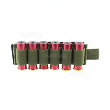 Tactical Hook Loop 6 Rounds Shotgun Shell Holder Shotshell Insert Card Strip with Adhesive Back for 12 Gauge