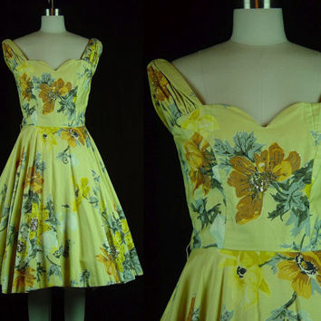 50s Dress Vintage 1950s Yellow Party Floral Sequin Fit Flare Full Circle Skirt Bright TLC AS IS S