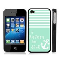 Turquoise Striped Anchor Sailor Sea Life BLACK Snap-On Cover Hard Carrying Case for iPhone 4/4S - I Refuse to Sink