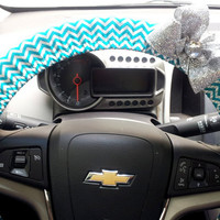 Chevron Steering Wheel Cover. Teal and Silver Steering Wheel Cover Chevron with Bow