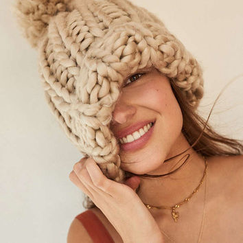 Chunky Knit Pompom Beanie | Urban Outfitters
