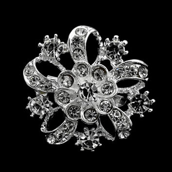 1.35 Inch Small Starfish Brooch with Clear Rhinestone Crystals Sparkly Silver Tone Bridal Pins