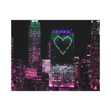 Wrapped Canvas Retro Chic City Light Night City