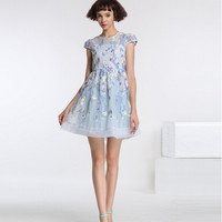 Light Blue Floral Embroidery Chiffon Sheer Mesh Skater Dress