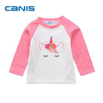 Brand New Toddler Infant Child Baby Kid Boy Girl Cartoon Unicorn Shirt Long Sleeve Pullover Cotton Top T Shirt Tees Clothes