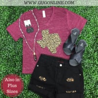 Leopard Texas Short Sleeve Tee Shirt in Maroon