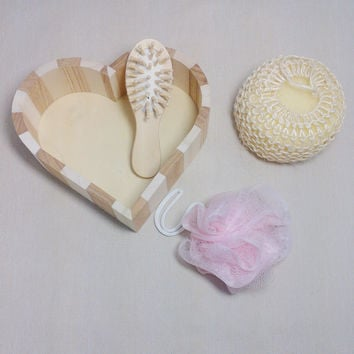 4pcs Soft Exfoliating Back Spa Scrubber Bath Ball + Massage Comb + Shower Sponge + Wood Box Set