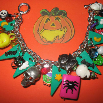 Halloween Charm Bracelet Funky Beads Charms Trinkets Dangles Moon Spider Skull Bat Frankenstein Fun Eclectic Statement Piece