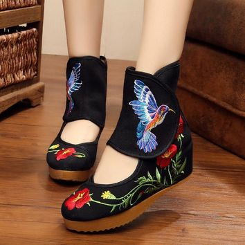Beige Flower Bird Women Shoes Chinese Style Noble Mary Janes Inside Increased Embroide
