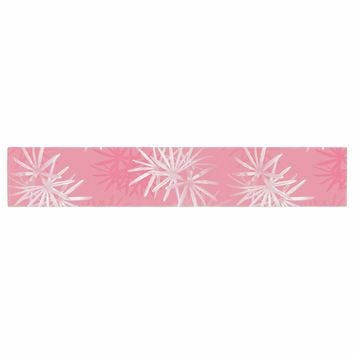 "Julia Grifol ""Paradise Flowers"" Pink White Vector Table Runner"