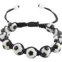 12 Pieces of Black with White Soccer Ball Style Shamballah Macrame Adjustable Bracelet