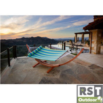 Cypress Wood Arc Ocean Breeze Stripe Hammock Bed  | Overstock.com