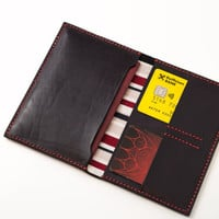 Leather passport holder in black with cotton lining (handmade slim travel wallet from full grain vegetable tanned leather)