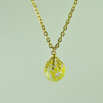 Yellow Frosted Marble Necklace - T - Shirt Necklace - Women Jewelry - Yellow Frosted Marble Pendant Jewelry