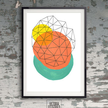 Coral, Turquiose, Yellow Abstract Geometric Minimalist Art, Triangle Shapes, Ink Pen, Premium Art A4 Print