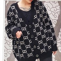 GUCCI Autumn And Winter Fashion New More Letter Knit Long Sleeve Top Coat Women Black