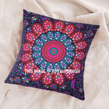 Pink Multi Decorative  Accent Indian Mandala Throw Pillow Case on RoyalFurnish.com
