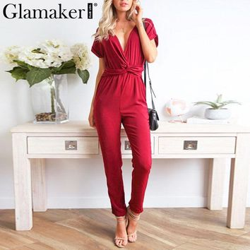 Glmaker Deep v neck black sexy jumpsuit Women winter short sleeve long playsuit Female solid fitness jumpsuits rompers overalls