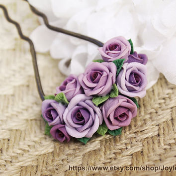 hair stick, hair accessories ,handmade flowers , vintage style , bronze, polymer clay flower, handmade jewelry, gift for her