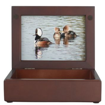 Hooded Merganser Ducks Wooden Keepsake Box