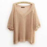 Loose Diamond Shape Hollow Out Silk Knitting Jumpers - Solilor