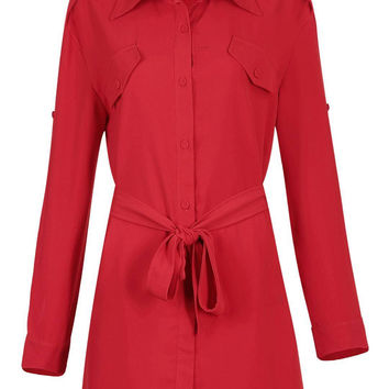Red Shirt Dress with Self-tie Belt