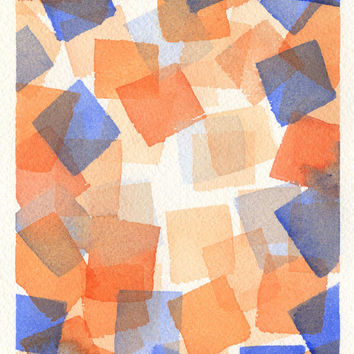 Original Cubist Painting - Abstract Watercolor - Geometric Art - Squares - Blue - Orange - 5 x 7