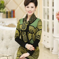 Middle-aged women's fall and winter dress fashion mother dress sweater bottoming thick loose long sweaters and pullover