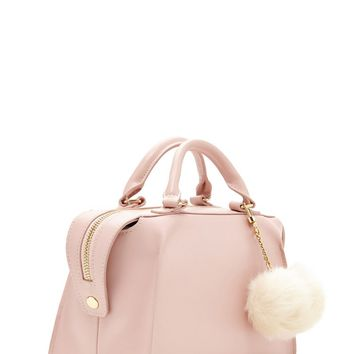 Pom Pom Faux Leather Satchel