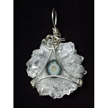 Quartz Crystal Sun Pendant Wire Wrapped .925 Sterling Silver