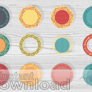 WEEKEND SALE 50% OFF mix and match digital clip art set, circles and swirls, autumn colors, round frames, commercial use clipart, instant do