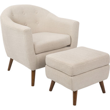 Rockwell Mid-Century Modern Chair with Ottoman, Beige
