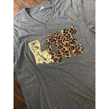 Mermaid Sequin LOVE Shirt with Leopard Letters/Mermaid Sequin state - Louisiana
