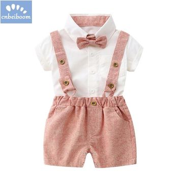 Summer style baby boy clothes set newborn baby clothes 2pcs short sleeve t-shirt +suspenders gentleman suit infant boys clothing