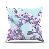 "Monika Strigel ""Cherry Phantasy"" Blue Pink Outdoor Throw Pillow"