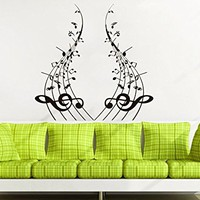Note Notes Waves Music Musical Treble Clef Wall Vinyl Decal Sticker Design Interior Decor Bedroom Recording Music Studio C520