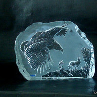 Swedish crystal Paperweight. Nybro glassworks. Large block with  Swooping eagle motif.