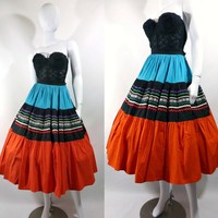 Vintage 50s Full Circle Patio Skirt Turquoise and Red / Rockabilly Skirt