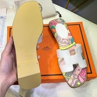 Hermes fashionable and popular ladies print many styles casual slippers sandals