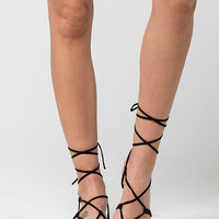CITY CLASSIFIED Lace Up Leg Wrap Womens Sandals | Sandals