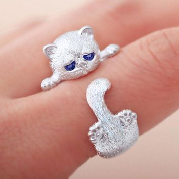 LMFCI7 Fashion Lovely Silver Plated Cute Cat Rings for Women Animal Cat Eyes Open Ring Vintage Jewelry