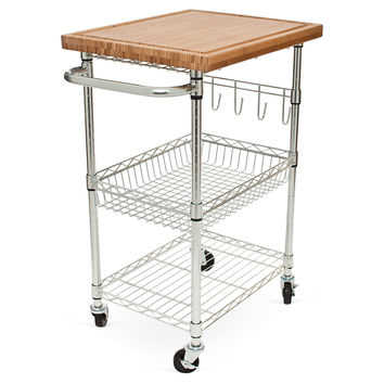 Bamboo Storage Cart W Wheels Kitchen From One Kings Lane