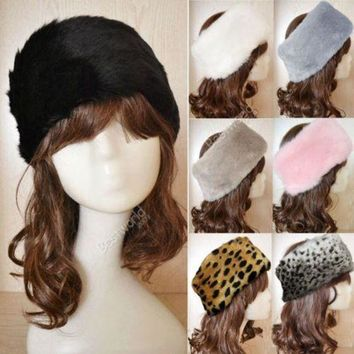 ONETOW 7 Colors Fashion Hot Women Faux Fur Headwrap Headband elastic Ear Hat Earmuffs Ear Warmer Hair Muffs Band Winter F1