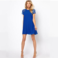 Chiffon Short Sleeve Lace Embroidered Mini Dress