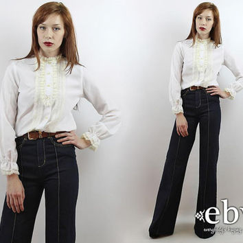 Vintage 70s White Tuxedo Blouse M Tuxedo Ruffle Blouse Longsleeve Blouse White Shirt Victorian Blouse Lace Blouse White Blouse