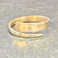 14k Hammered Solid Yellow Gold Hammered Bypass Ring