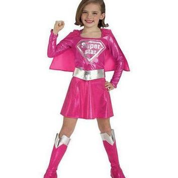 Free shipping 95-140cm Children hot pink superman girl dress,halloween cosplay party super hero costume with cape,boots,belt