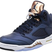Nike Jordan Men's Air Jordan 5 Retro Obsdn/White Mtlc Rd Brnz Brght Basketball Shoe 8.